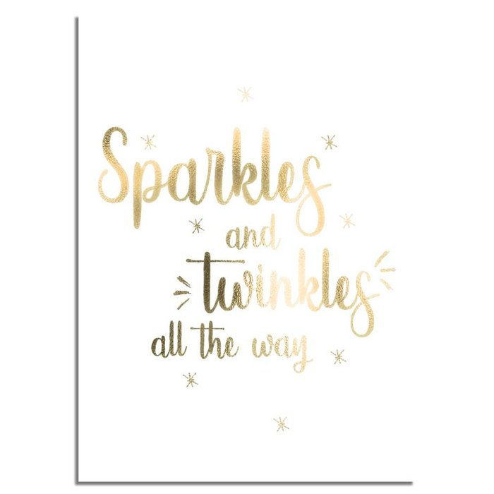 Kerstposter Sparkles and Twinkles all the way - Kerstdecoratie Goudfolie + wit