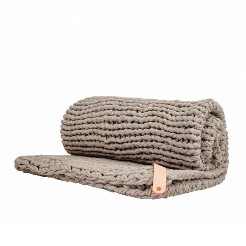 Chunky Knit Blanket Juna, vegan scandi grey